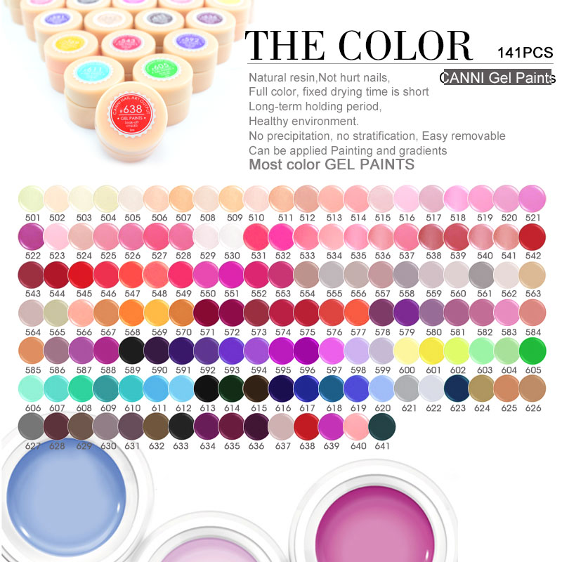 #50618 CANNI Nail Art Wholesale High Quality Soak Off 141 Colors Color Gel UV/LED 2 in 1 Gel Paint