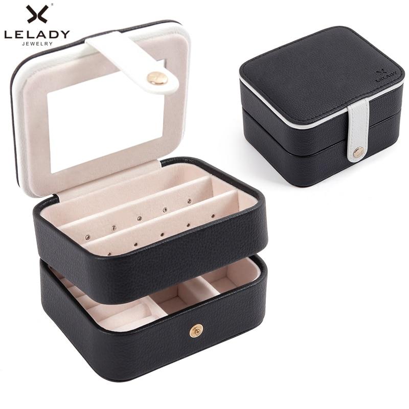 LELADY Portable Voyage Petite Boîte à Bijoux Multifonction Trois Couches De Stockage Organisateur Boîte avec miroir Boîte En Cuir pour Bijoux