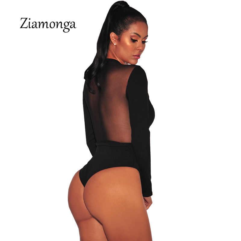 Ziamonga Мода Дизайн Обрезанные сетки лоскутное с длинным рукавом черный Bodycon Playsuit Кнопка крюк уникальный для женщин сексуальное боди