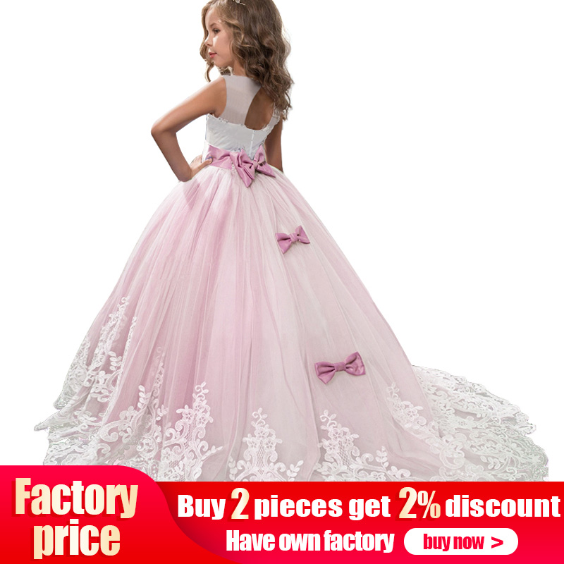 2019 High quality flower girl dress baby evening wedding birthday girls dress first communion princess costume ladies dress