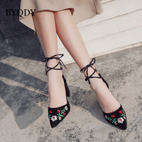 BYQDY Women Square Heels Vintage Embroider Flower Ankle Strap Shoes Woman Wedding Pumps Lady Party Dress Shoes Size 35 40