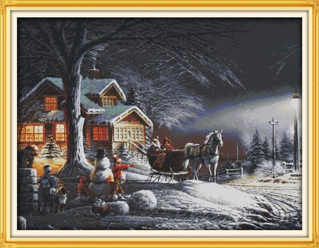Зимние Рождество ночь Счетный или штамп вышивки крестом 11CT 14CT DMC вышивки крестом комплект Вышивка Домашний декор рукоделие