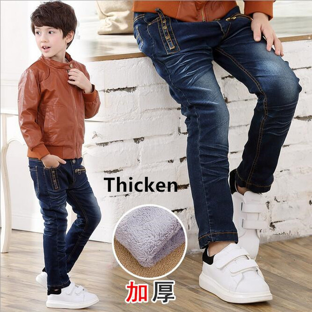 2017 Winter Light Wash Boys Jeans for Boys Solid Warm Thicken Children's Jeans Boys Pants Ripped Hole Children Fashion Jeans