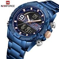 2019 Men Watch NAVIFORCE Casual Sports Digital Chronograph Military Dual Display Stainless Steel Quartz Waterproof Wristwatches