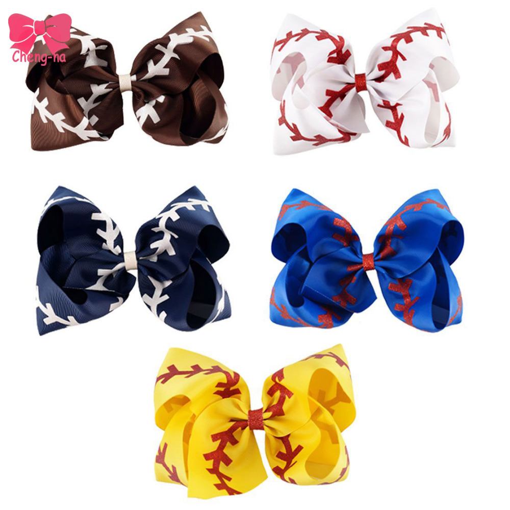5pcs/lot Large 7 Glitter Softball Ribbon Bows With Clip Girls Boutique Big Hair Bows School Girl Hair Accessories
