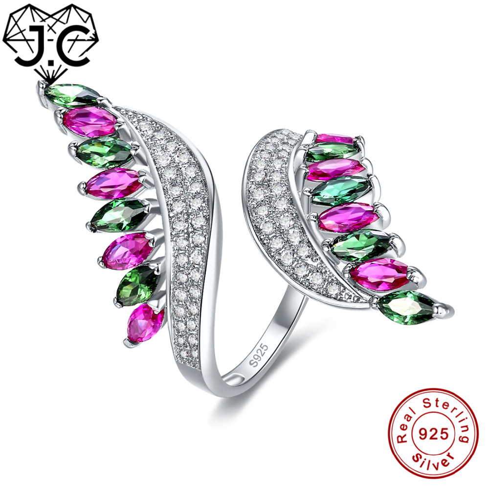 цена J.C Fine Jewelry Women Ruby Sapphire Emerald Blue Garnet Morganite Peridot Topaz Solid 925 Sterling Silver Ring Size 6 7 8 9 онлайн в 2017 году
