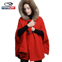 Cloak Winter Women Coat 2018 Fashion New Batwing Sleeve Female Coat Butterfly Back Women Mantle With Fur Hoody Womens Poncho