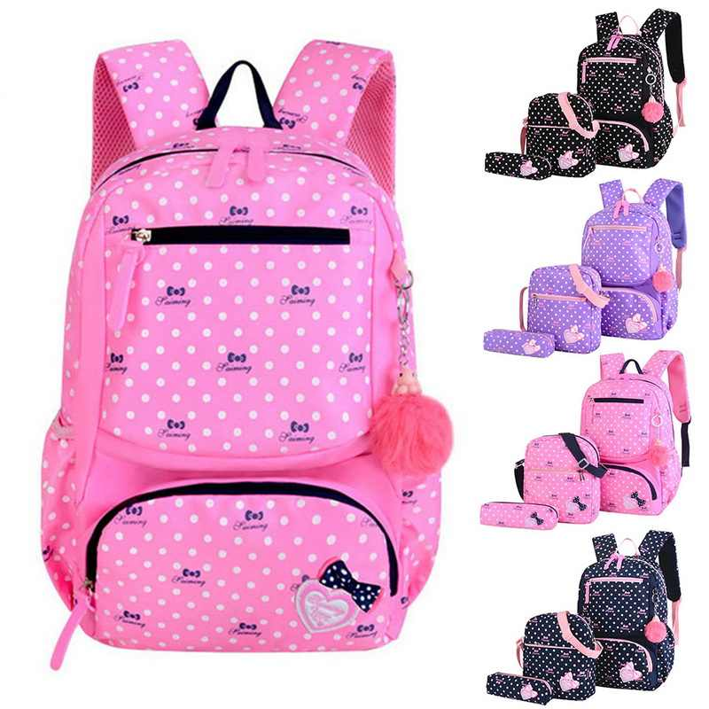 3pcs Printing SchoolBag For Children Kids School bags Fashion School Backpacks For Girls Teenager Pink Purple Bagpack