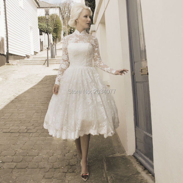 Off White Tea Length Wedding Dresses