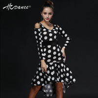 2016New LatinDance Salsa Tango Rumba Cha Cha Ballroom Dance Dress Skirt Square Dance Fleck Black Clothes