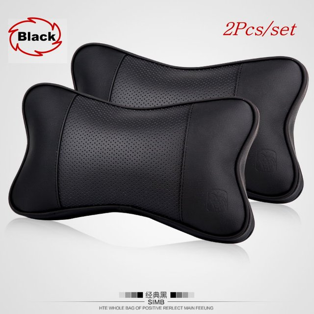 For Land Rover / 2pcs/set Car Leather Neck Pillow / Auto Seat Cover Head Neck Rest Cushion Headrest Pillow