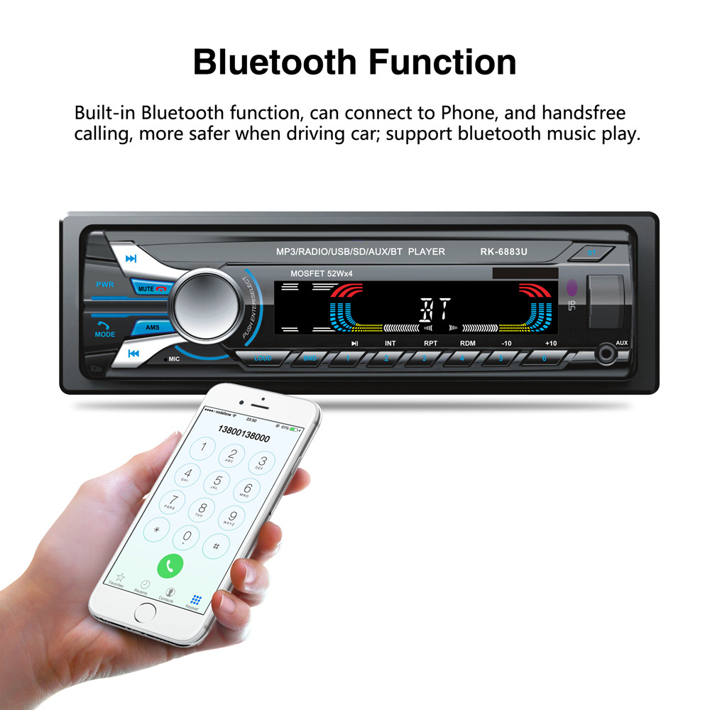 Auto autoradio Audio stéréo lecteur MP3 1 Din Bluetooth 12 V 7 couleur lumière avant détachable panneau Support SD/FM/AUX/USB - 2