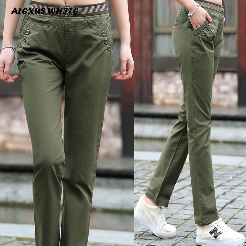 Cargo Pants Women 2018 Summer Fashion Full Length Trousers Female Classic Elastic Waist Casual Pants M-XXXL
