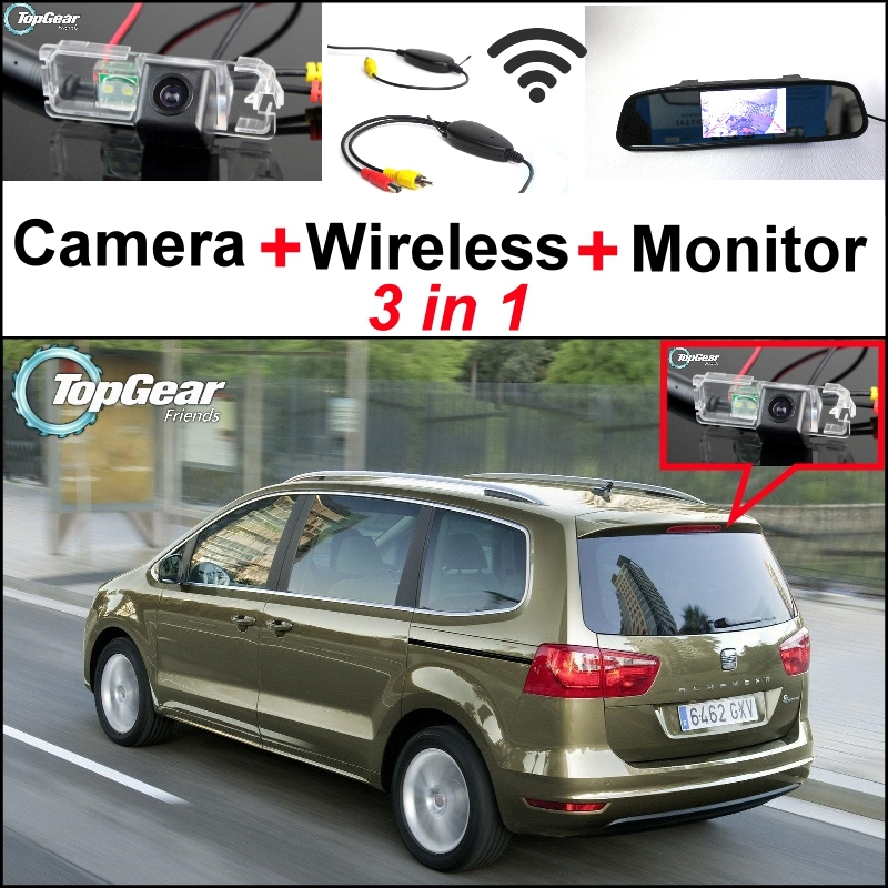 Wireless Receiver + Mirror Monitor Easy DIY Back Up Parking System For SEAT Alhambra 7N Altea 3 in1 Special Rear View Camera wireless pager system 433 92mhz wireless restaurant table buzzer with monitor and watch receiver 3 display 42 call button