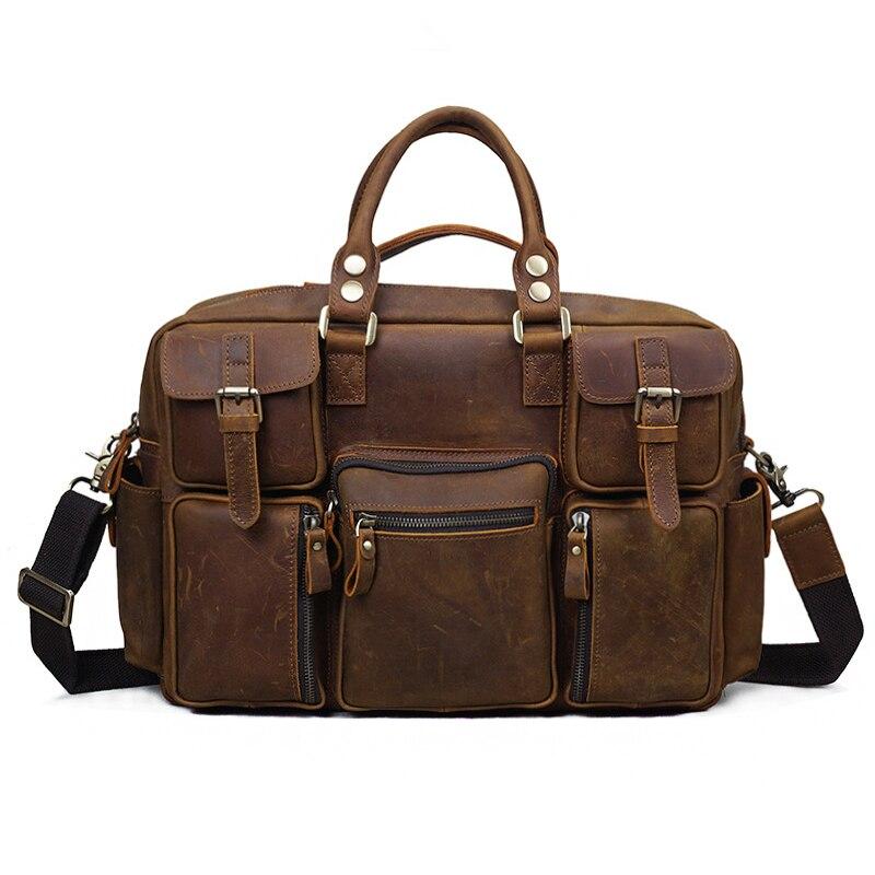 2019 винтажная сумка из натуральной кожи Ретро Crazy Horse мужская сумка через плечо большая Вместительная дорожная Мужская сумка портфель