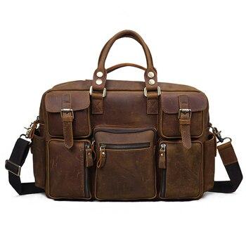 2019 Vintage Genuine Leather Handbag Retro Crazy Horse Men Shoulder Crossbody Bag Large Capacity Travel Men Handbags Briefcase