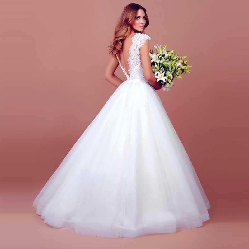 Vintage Lace Cap Sleeves Tulle Princess Wedding Dresses: Fashionable Refine Deep V Neck Cap Sleeve Tulle Lace