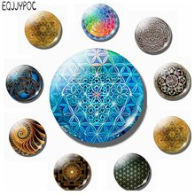 Flower of Life 30 MM Fridge Magnet Sacred Geometry Mandala Yoga Glass Dome Magnetic Refrigerator Stickers Note Holder Home Decor(China)