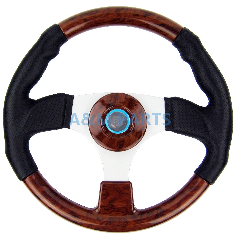 Marine Steering Wheel Burl Wood PU Cover Aluminum Spoke Pontoon Power Boat Steering 13.5