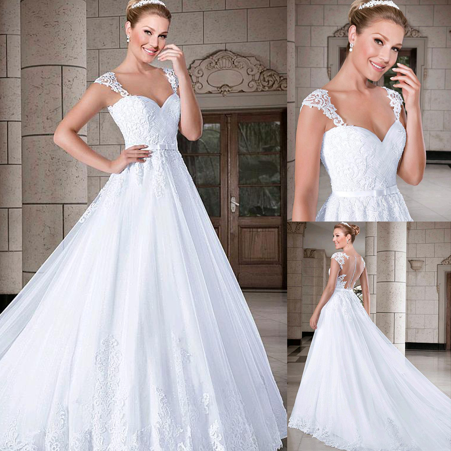 Robe De Mariee Marvelous Tulle Sweetheart Neckline A-line Wedding Dresses With Beadings & Belt & Lace Appliques Bridal Gown