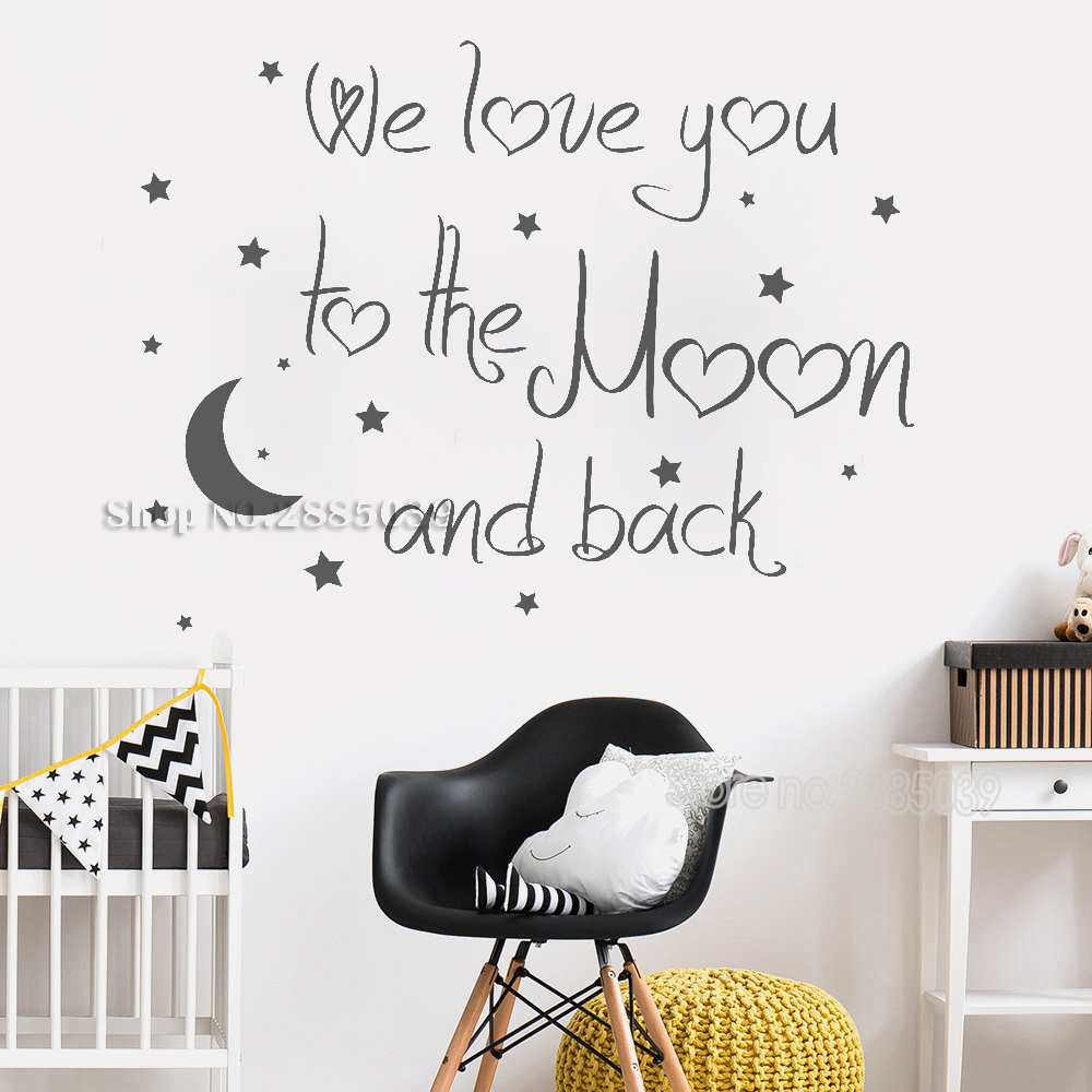 Us 7 97 25 Off Art Lovely Baby Nursery Wall Decal Quote We Love You To The Moon And Back Decals Sticker Home Decor Modern Mural La757 In