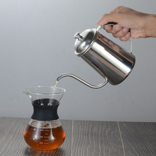 Long mouth hand punching pot fine mouth pot 650ml thick 304 stainless steel drip coffee pot filter brewing teapot kettle eagle mouth stainless steel vacuum pot kettle black silver 1500m