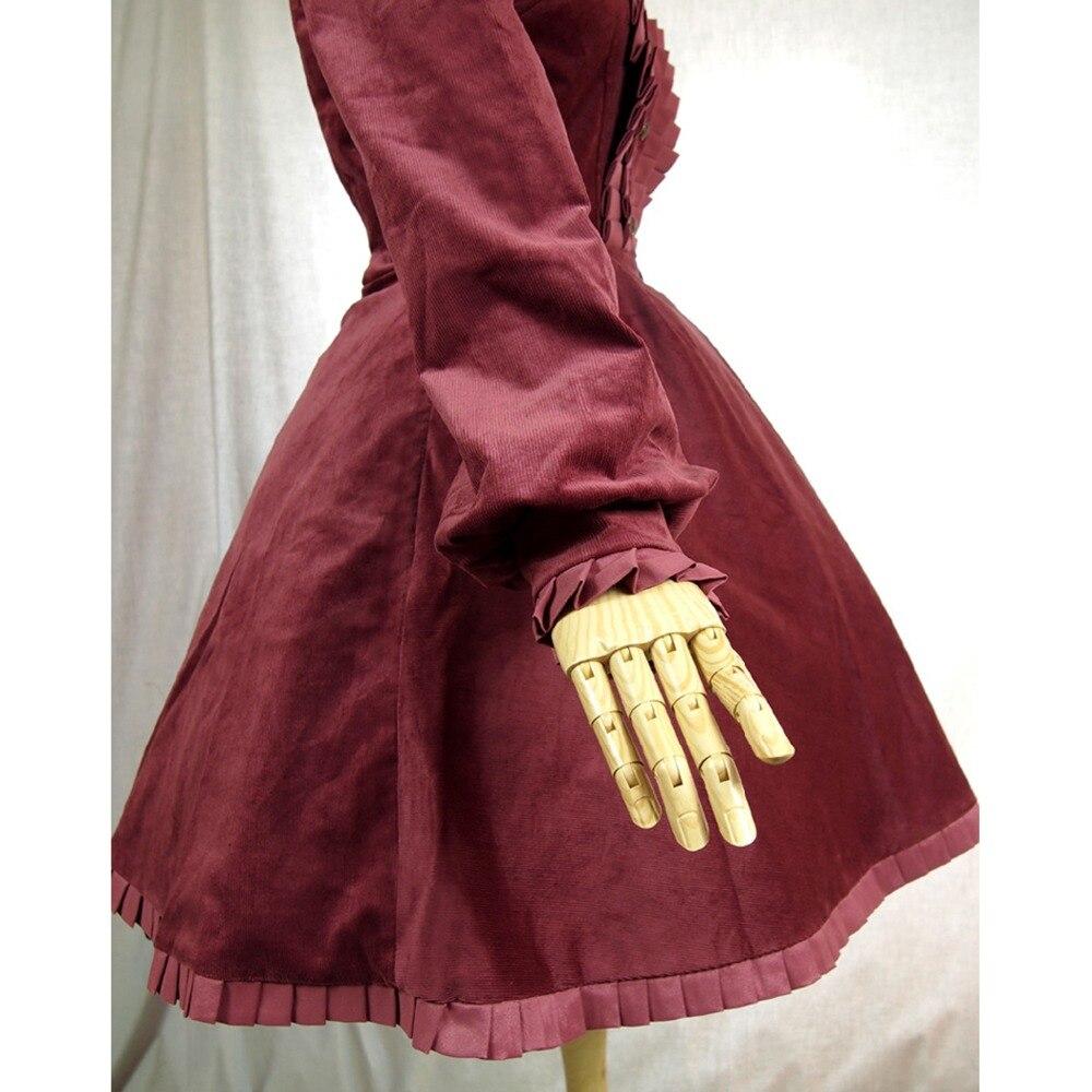 Vestido de oficina de Primavera Otoño de mujer británica vintage lolita disfraz de pana vestido Casual plisado largo rompevientos - 6