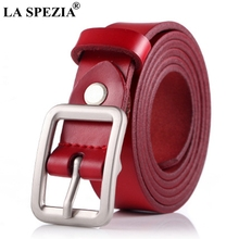 LA SPEZIA Womens Red Belts Square Pin Buckle Leather Belt For Jeans Female Real Cowhide Ladies Solid Brand Retro