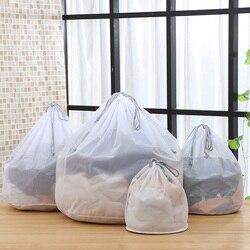 Modern S-XL Large Drawstring Bra Underwear Laundry Bag Household Cleaning washing machine mesh holder bags white color drop ship