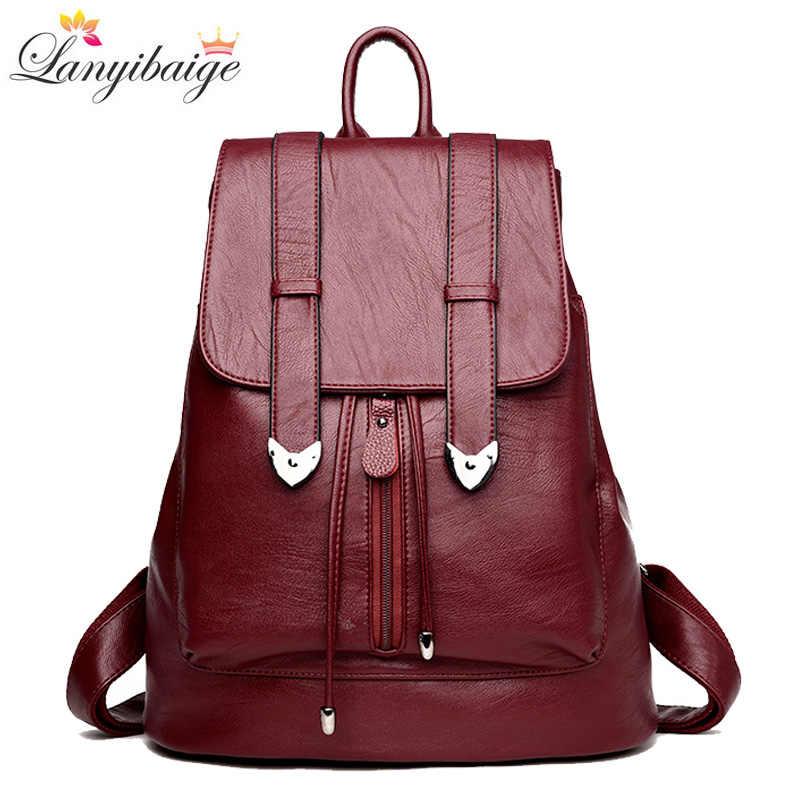 876adf007c3d 2018 бренд для женщин кожа рюкзаки Винтаж женская сумка Sac Dos Дамы  Путешествия Рюкзак школьные ранцы