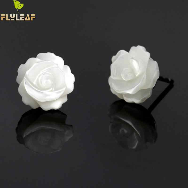 Natural Shell Rose Flower 925 Sterling Silver Stud Earrings For Women Fashion Girl Valentine's Day Gift Sterling-silver-jewelry