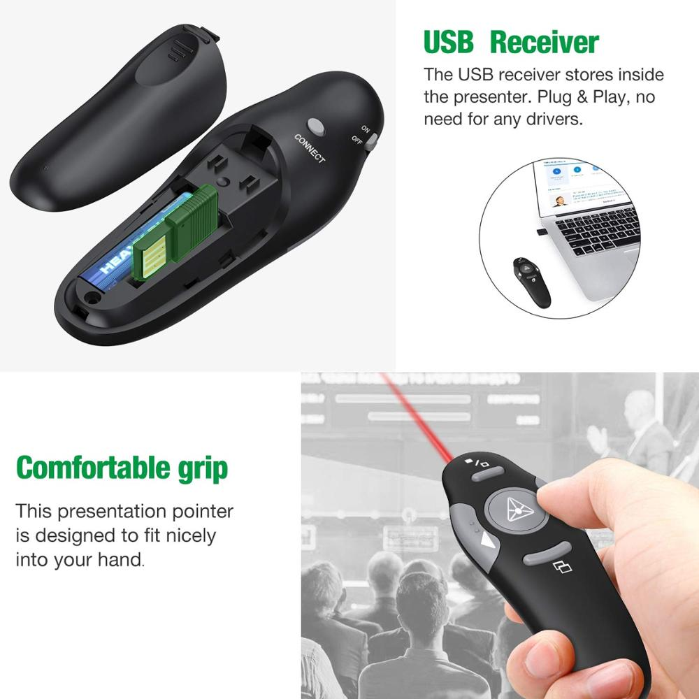 Wireless Presenter Red Laser Pointers Pen USB RF Remote Control Page Turning PPT Powerpoint Presentation in Remote Controls from Consumer Electronics
