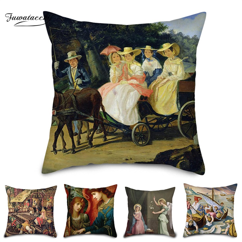 Fuwatacchi Painting Pillow Case Portrait Style Cushion Cover Home Decorative Pillows Cover Throw Pillow For Sofa Bedroom 2019