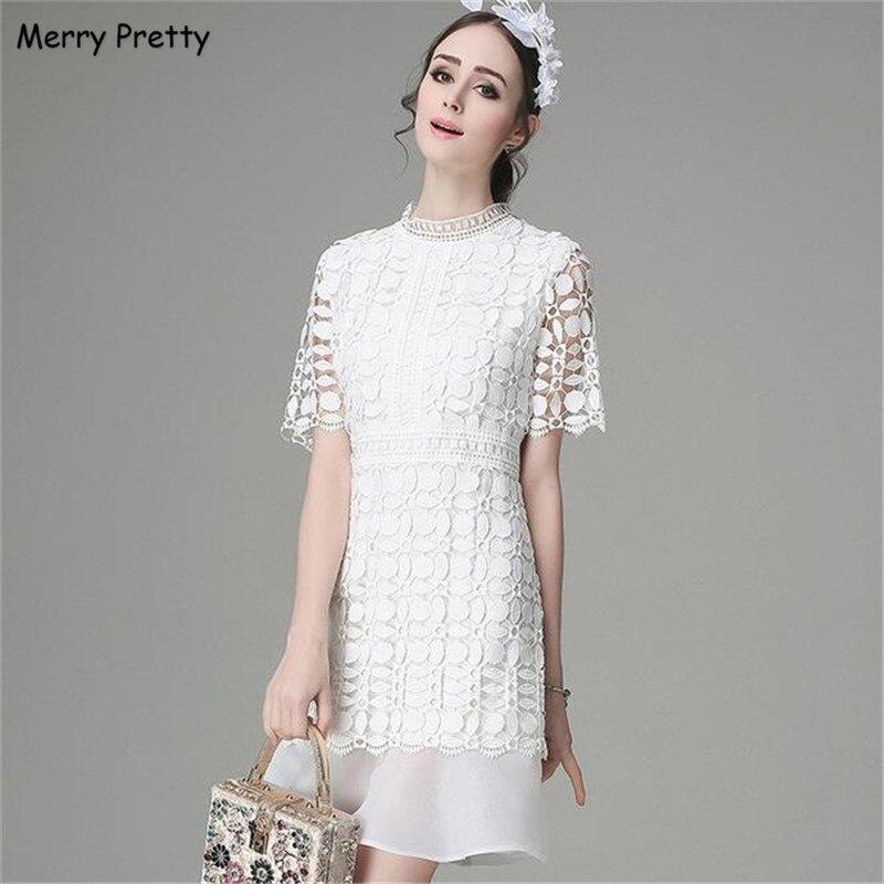 0d573a522 Feliz Bonito High-end Estilo White Lace Fishtail Vestido de Verão Europeu  Sexy e Elegante Doce Rendas Vestido Ocasional Das Mulheres Vestidos Vestido