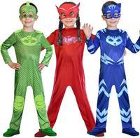 Kids Boys Girls PJ Masks Cosplay Costume Superhero Jumpsuit Children Carnival Purim Costume New Year Birthday