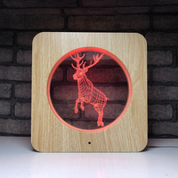 Creative wood grain personality 7 color table lamp Acrylic touch color changing lamp led 3d night light deer