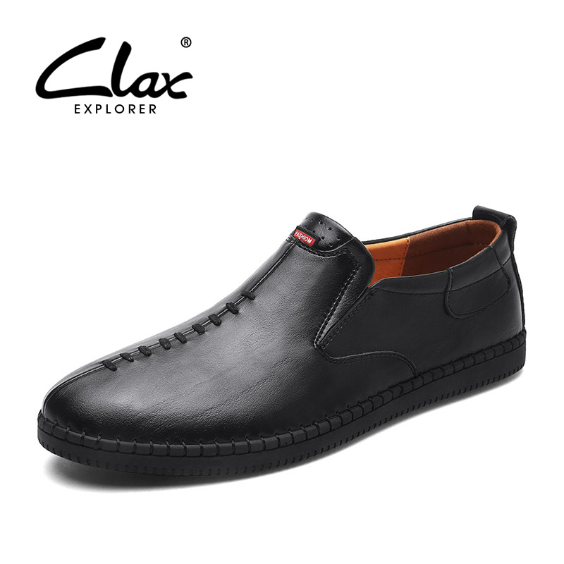 CLAX Men's Casual Shoes Fashion Leisure Shoe 2018 Spring Summer Men Leather Footwear Breathable Handmade Loafers Sewing Sole clax men s casual shoes fashion leisure shoe 2018 spring summer men leather footwear breathable handmade loafers sewing sole