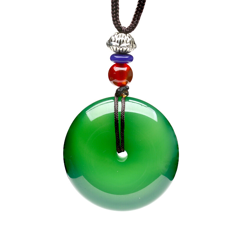 Green Chalcedony Safety Button Pendant Necklace Drop Shipping Hand-carved lucky Amulet Ping An Kou For Men And Women