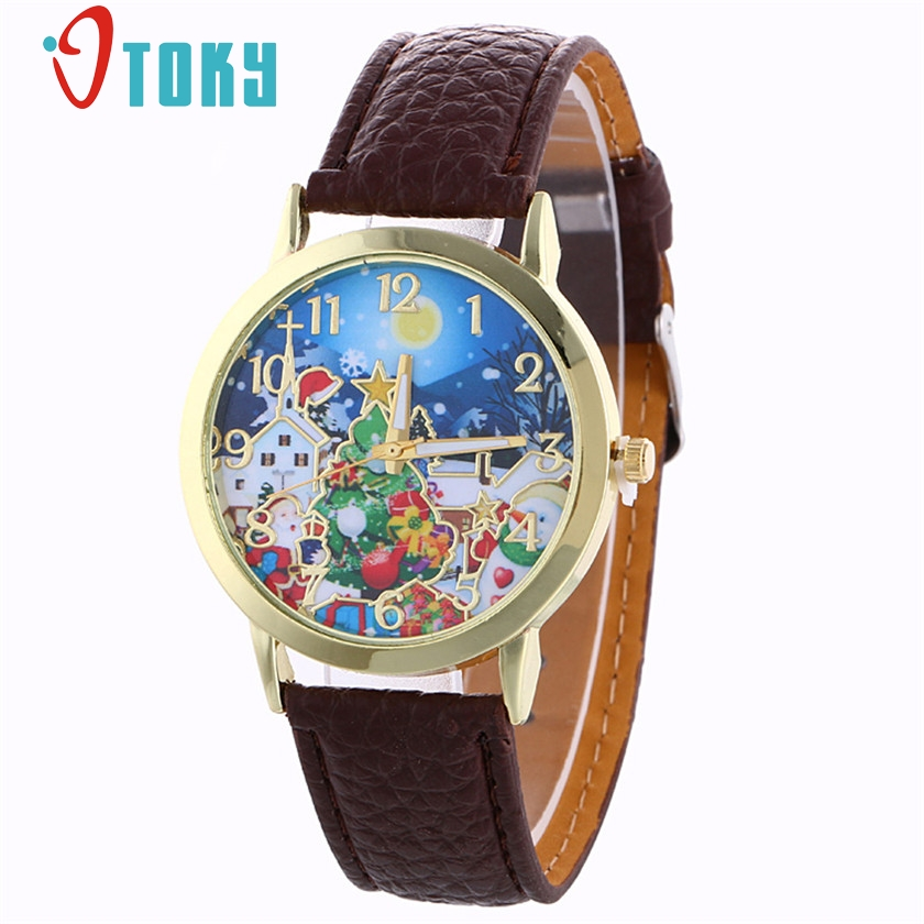 OTOKY Watch Women Santa Claus Pattern Leather Band Quartz-Watch Analog Women Watches Christmas Watches Montre Femme 2017 #30 ...