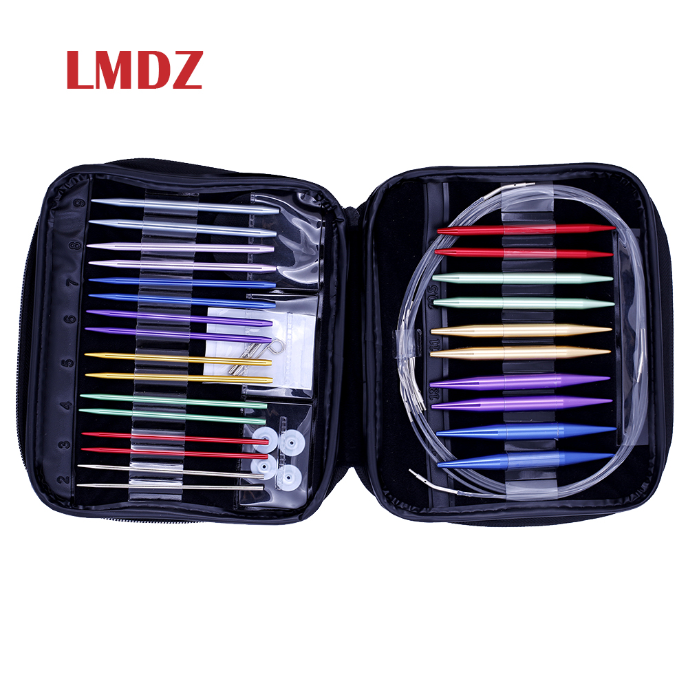 LMDZ 26PCS 13 Size Crochet Hook Set Circular DIY Knitting Needles Change Head Needle For DIY Craft Sewing Yarn Knitting Needles