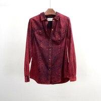 Clearance Brand Denim Red Jeans Shirt Women Fashion Slim Snow Wash Cotton Long Sleeve Womens Blouses