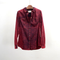 Clearance Brand Denim Red Jeans Shirt Women Fashion Slim Snow Wash Cotton Long Sleeve Womens Blouses