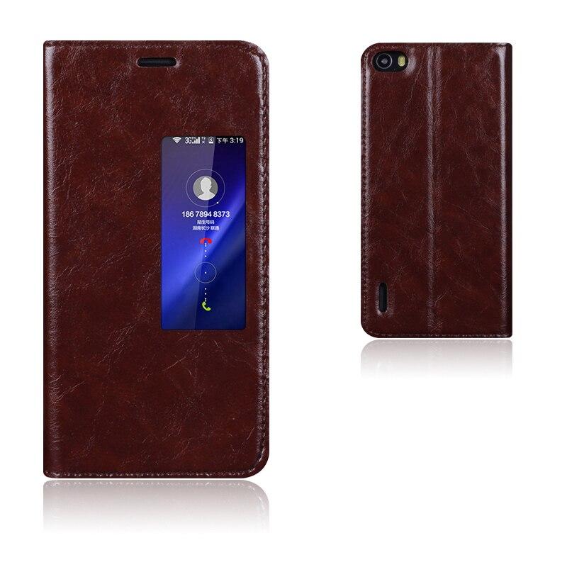 imágenes para De Calidad superior Caso de la Cubierta Elegante de Cuero Genuino Para Huawei Honor 6 de Lujo Del Soporte Del Tirón Bolso Del Teléfono Móvil + Regalo