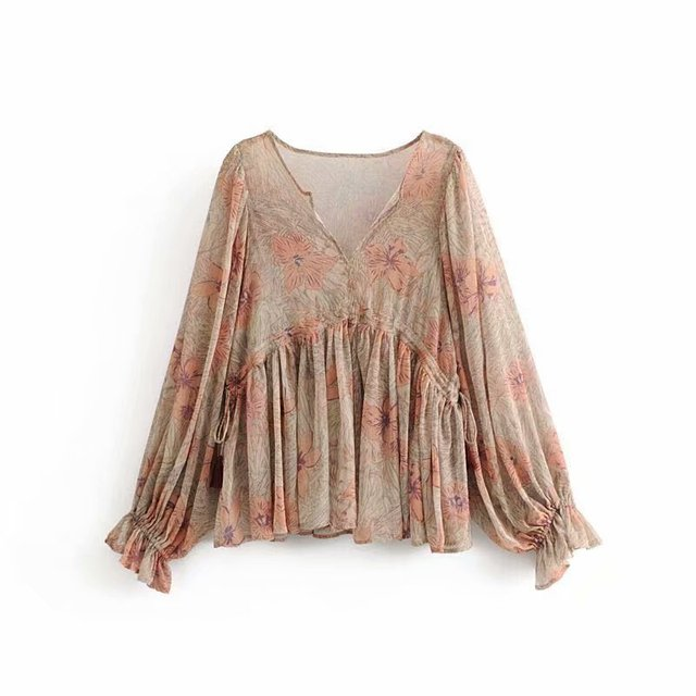 36d0c6991ccdc Casual Summer Tops Women Vintage Printed Chiffon Blouse Lady Lantern Sleeve  V Neck Holiday Hippie Boho