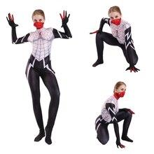 Adult Kids Female Spiderman Gwen Costume Zentai Superhero Bodysuit Suit Jumpsuits Tight Cosplay Halloween Girls