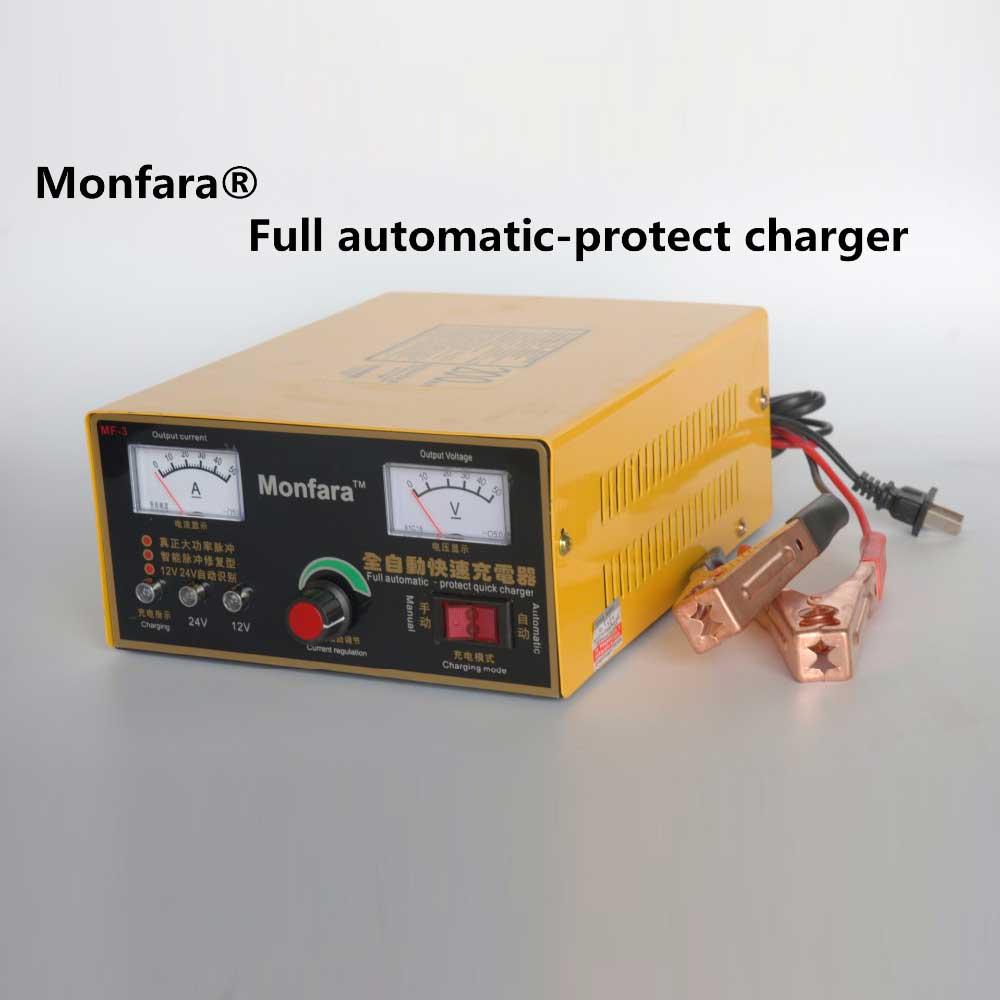 Nieuwe 220 V Vrachtwagen Motorfiets Auto Batterij Oplader Intelligente Puls Reparatie Batterij Oplader 12 V/24 V