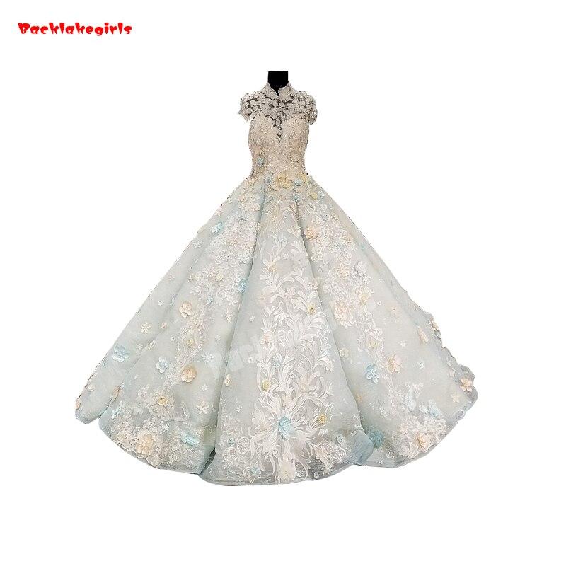 38741 High Neck Lace Elegant Party Gown Sleeveless Beautiful Appliqued Fluffy Wedding Dresses Vestido De Fiesta De Apliques