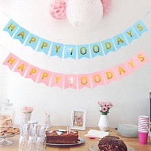 happy 100 days Banner Baby Boy Girl Happy Birthday Bunting Pennant Shower Days Party birthday Supplies