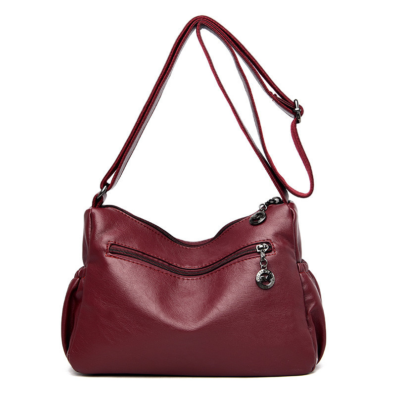 New High Quality Soft Leather Luxury Handbag Women Bag Female Designer Double Zipper Shoulder Crossbody Bag For Women Sac A Main in Shoulder Bags from Luggage Bags