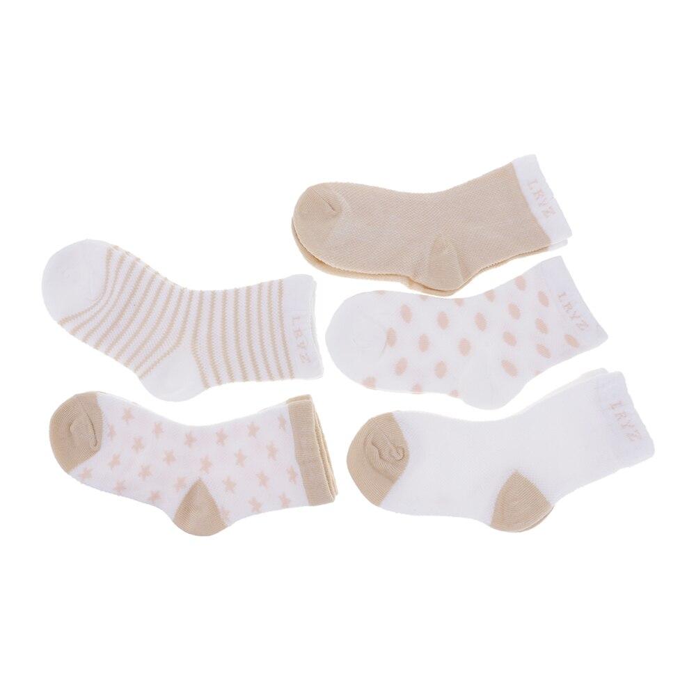 100% Cotton 5 Pairs Kids Toddler Baby Girl Lovely Short Socks For 4-6 Years Old